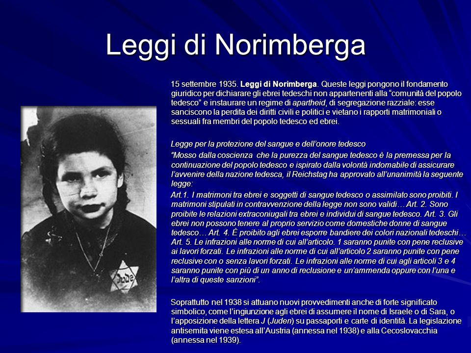 Leggi di Norimberga 15 settembre 1935. Leggi di Norimberga. Queste leggi pongono il fondamento giuridico per dichiarare gli ebrei tedeschi non apparte