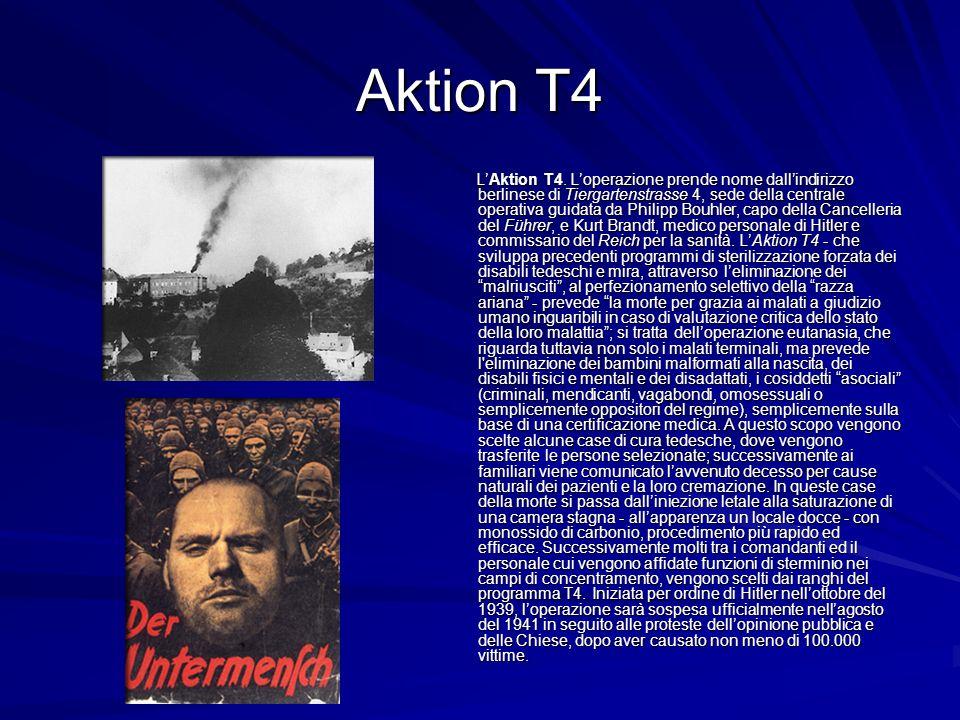Aktion T4 LAktion T4. Loperazione prende nome dallindirizzo berlinese di Tiergartenstrasse 4, sede della centrale operativa guidata da Philipp Bouhler