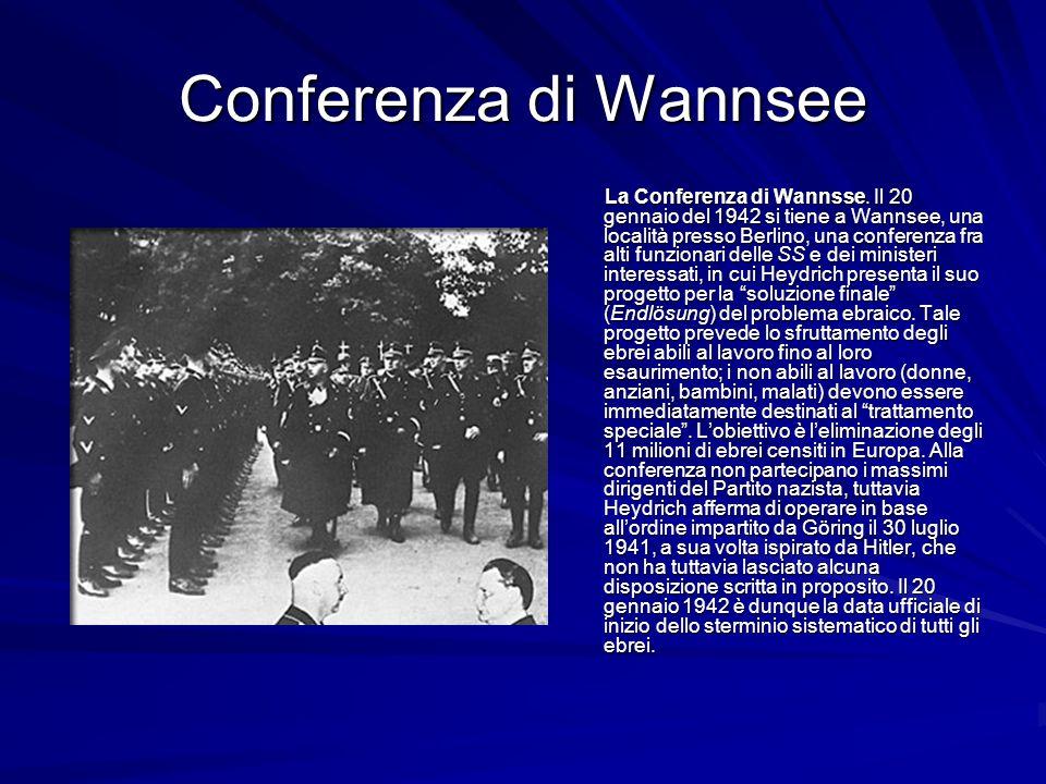 Conferenza di Wannsee La Conferenza di Wannsse. Il 20 gennaio del 1942 si tiene a Wannsee, una località presso Berlino, una conferenza fra alti funzio