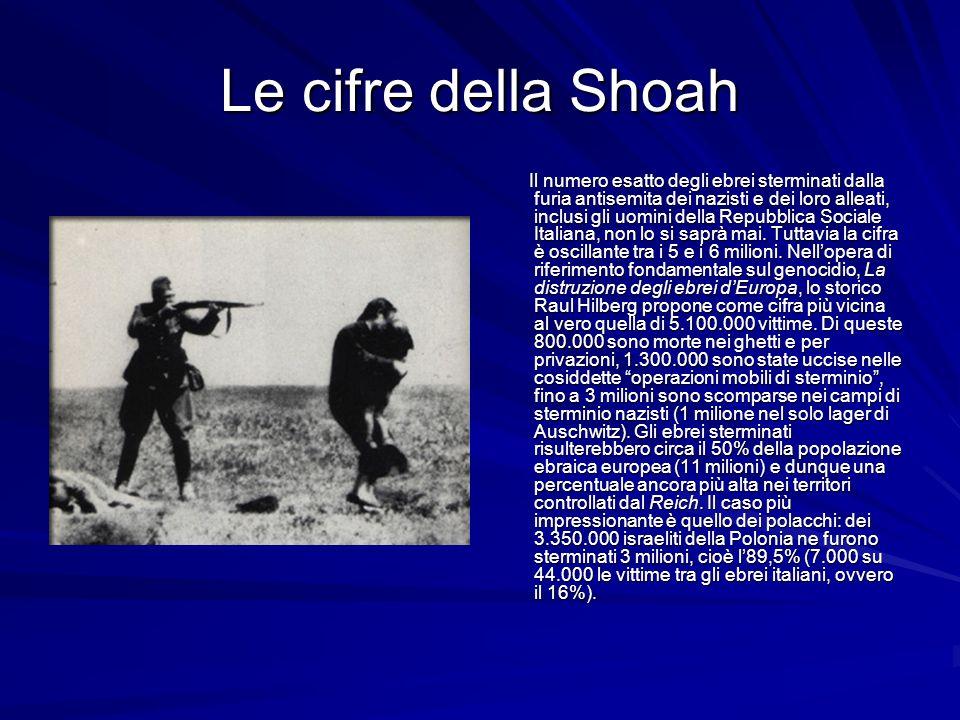 Le cifre della Shoah Il numero esatto degli ebrei sterminati dalla furia antisemita dei nazisti e dei loro alleati, inclusi gli uomini della Repubblic