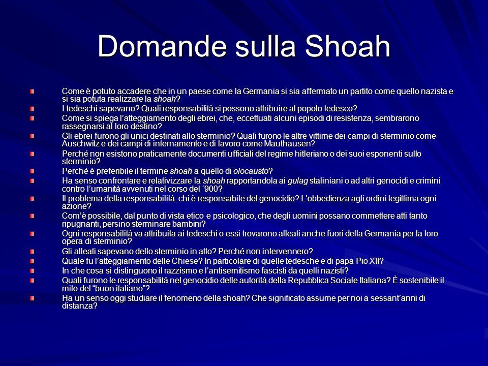 Domande sulla Shoah Come è potuto accadere che in un paese come la Germania si sia affermato un partito come quello nazista e si sia potuta realizzare