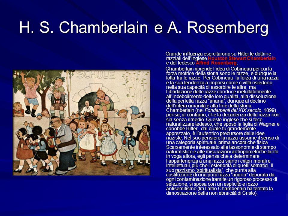 H. S. Chamberlain e A. Rosemberg Grande influenza esercitarono su Hitler le dottrine razziali dellinglese Houston Stewart Chamberlain e del tedesco Al