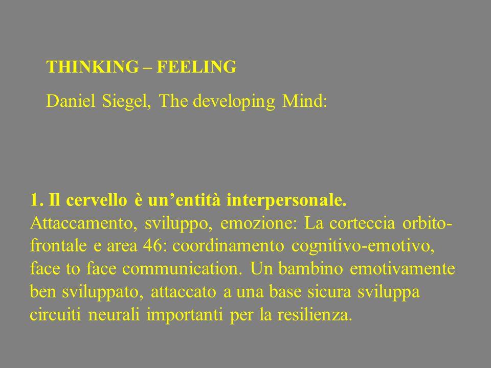 1. Il cervello è unentità interpersonale. Attaccamento, sviluppo, emozione: La corteccia orbito- frontale e area 46: coordinamento cognitivo-emotivo,