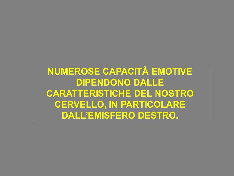 NUMEROSE CAPACITÀ EMOTIVE DIPENDONO DALLE CARATTERISTICHE DEL NOSTRO CERVELLO, IN PARTICOLARE DALLEMISFERO DESTRO.