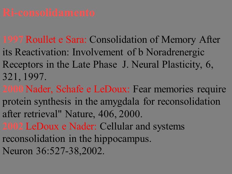 Ri-consolidamento 1997 Roullet e Sara: Consolidation of Memory After its Reactivation: Involvement of b Noradrenergic Receptors in the Late Phase J. N