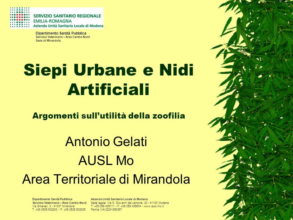 Siepi Urbane e Nidi Artificiali Argomenti sullutilità della zoofilia Antonio Gelati AUSL Mo Area Territoriale di Mirandola Dipartimento Sanità Pubblic