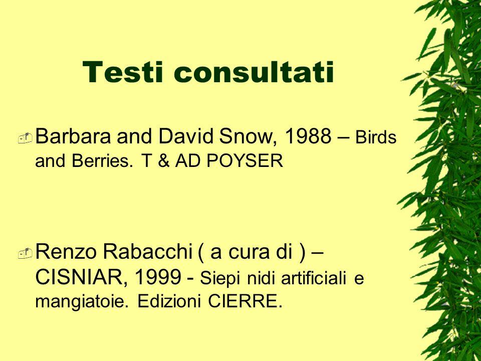 Testi consultati Barbara and David Snow, 1988 – Birds and Berries. T & AD POYSER Renzo Rabacchi ( a cura di ) – CISNIAR, 1999 - Siepi nidi artificiali