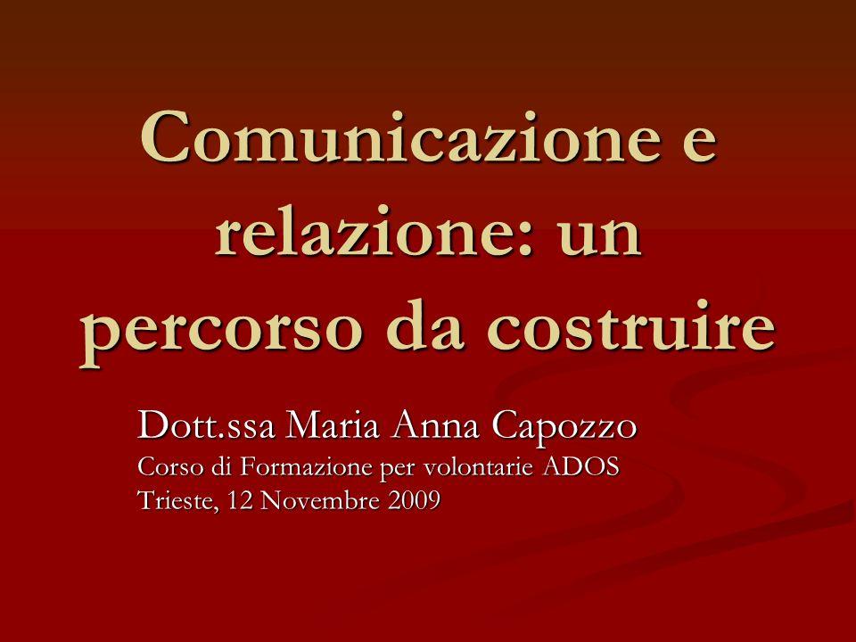 Comunicazione e relazione: un percorso da costruire Dott.ssa Maria Anna Capozzo Corso di Formazione per volontarie ADOS Trieste, 12 Novembre 2009