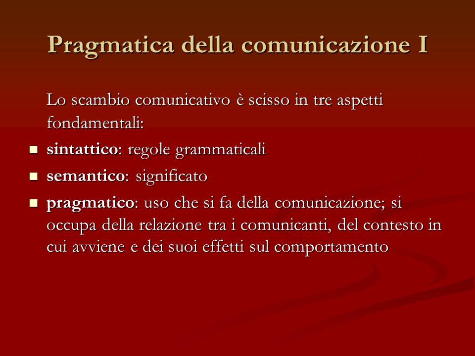 Pragmatica della comunicazione I Lo scambio comunicativo è scisso in tre aspetti fondamentali: sintattico: regole grammaticali sintattico: regole gram