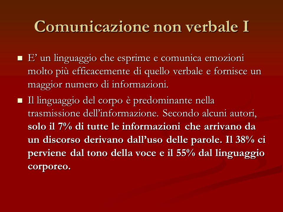 Comunicazione non verbale I E un linguaggio che esprime e comunica emozioni molto più efficacemente di quello verbale e fornisce un maggior numero di