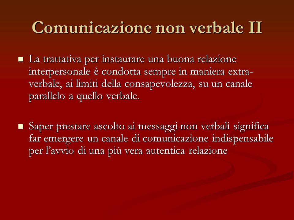 Comunicazione non verbale II La trattativa per instaurare una buona relazione interpersonale è condotta sempre in maniera extra- verbale, ai limiti de
