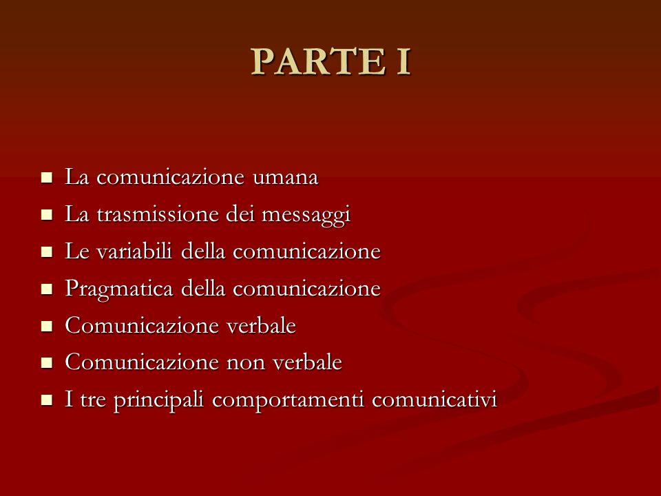 PARTE I La comunicazione umana La comunicazione umana La trasmissione dei messaggi La trasmissione dei messaggi Le variabili della comunicazione Le va