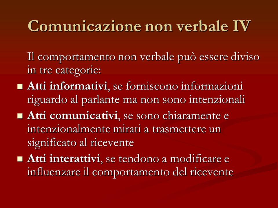 Comunicazione non verbale IV Il comportamento non verbale può essere diviso in tre categorie: Atti informativi, se forniscono informazioni riguardo al