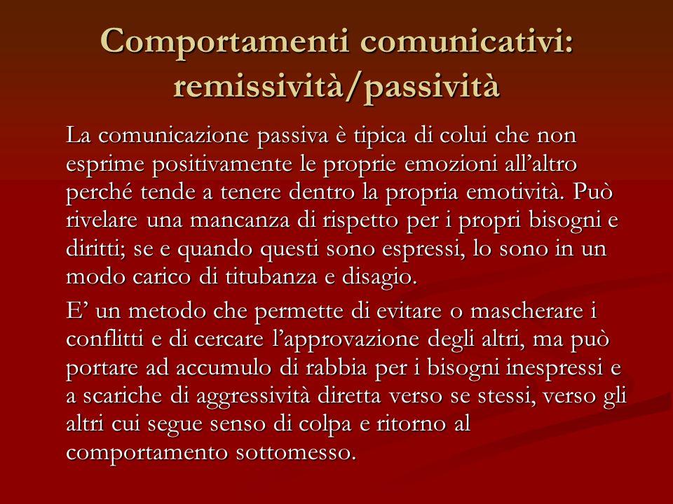 Comportamenti comunicativi: remissività/passività La comunicazione passiva è tipica di colui che non esprime positivamente le proprie emozioni allaltr