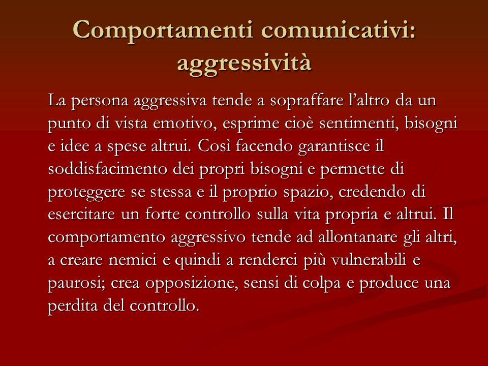 Comportamenti comunicativi: aggressività La persona aggressiva tende a sopraffare laltro da un punto di vista emotivo, esprime cioè sentimenti, bisogn
