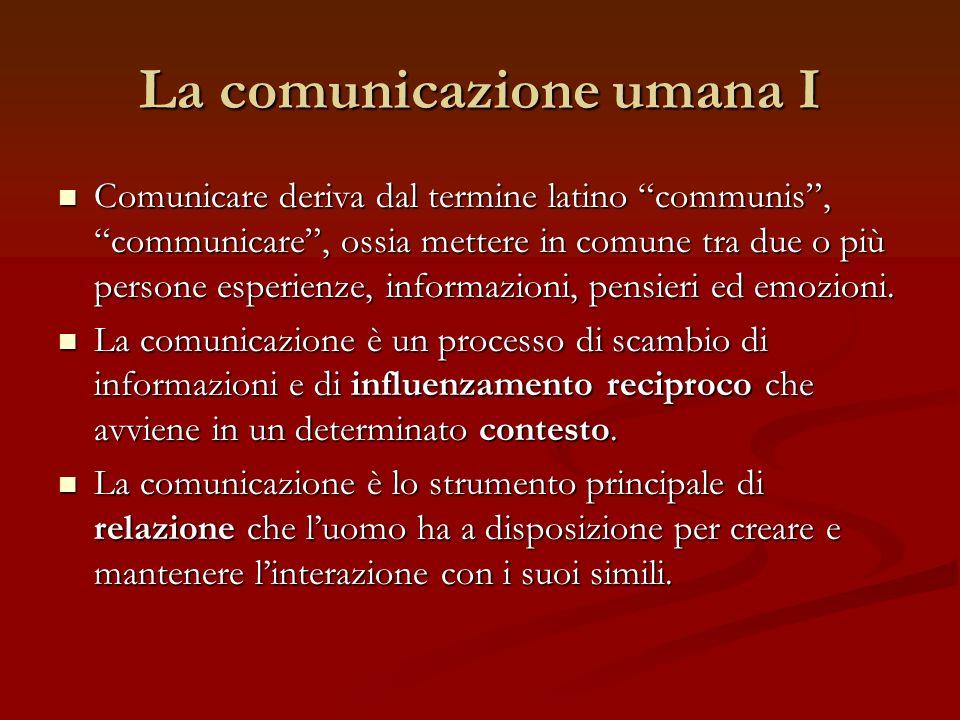 La comunicazione umana I Comunicare deriva dal termine latino communis, communicare, ossia mettere in comune tra due o più persone esperienze, informa