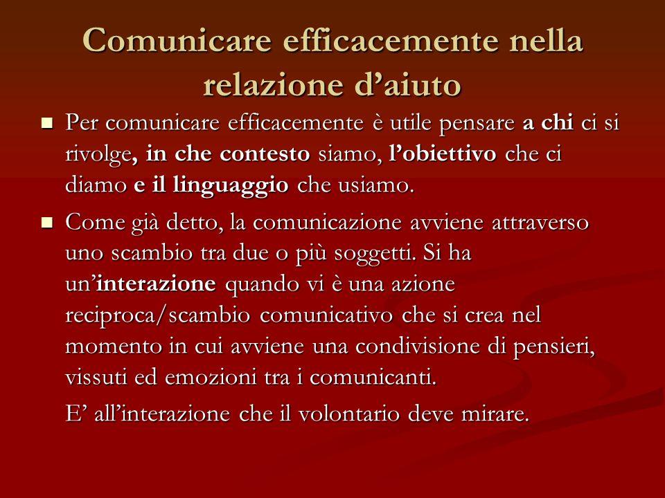 Comunicare efficacemente nella relazione daiuto Per comunicare efficacemente è utile pensare a chi ci si rivolge, in che contesto siamo, lobiettivo ch