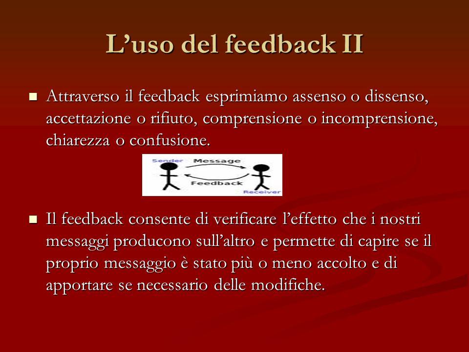 Luso del feedback II Attraverso il feedback esprimiamo assenso o dissenso, accettazione o rifiuto, comprensione o incomprensione, chiarezza o confusio
