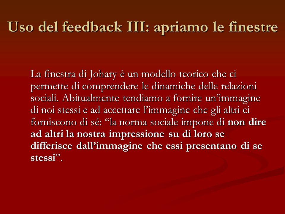 Uso del feedback III: apriamo le finestre La finestra di Johary è un modello teorico che ci permette di comprendere le dinamiche delle relazioni socia