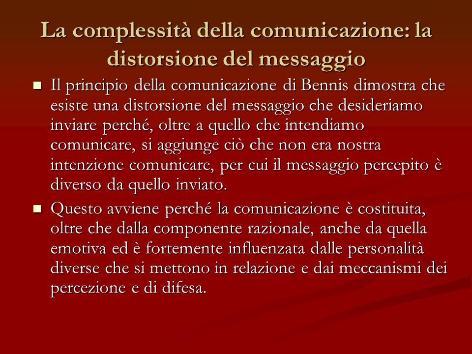 La complessità della comunicazione: la distorsione del messaggio Il principio della comunicazione di Bennis dimostra che esiste una distorsione del me