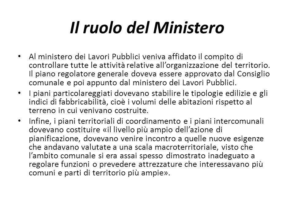 Il ruolo del Ministero Al ministero dei Lavori Pubblici veniva affidato il compito di controllare tutte le attività relative allorganizzazione del ter