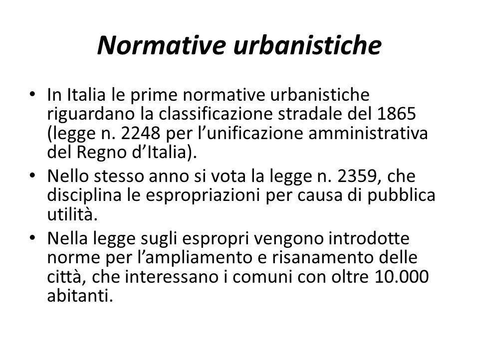 Normative urbanistiche In Italia le prime normative urbanistiche riguardano la classificazione stradale del 1865 (legge n. 2248 per lunificazione ammi