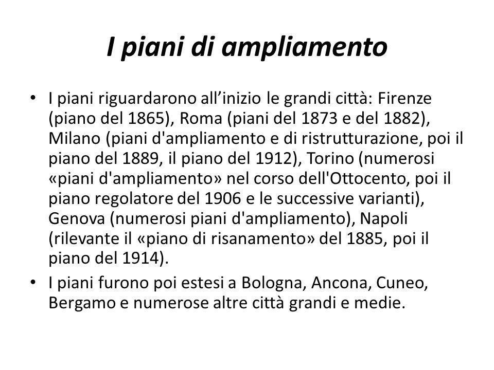 I piani di ampliamento I piani riguardarono allinizio le grandi città: Firenze (piano del 1865), Roma (piani del 1873 e del 1882), Milano (piani d'amp
