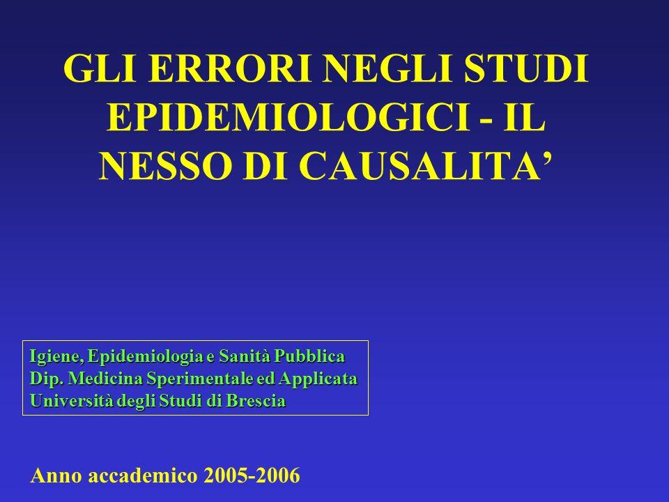 GLI ERRORI NEGLI STUDI EPIDEMIOLOGICI - IL NESSO DI CAUSALITA Igiene, Epidemiologia e Sanità Pubblica Dip. Medicina Sperimentale ed Applicata Universi