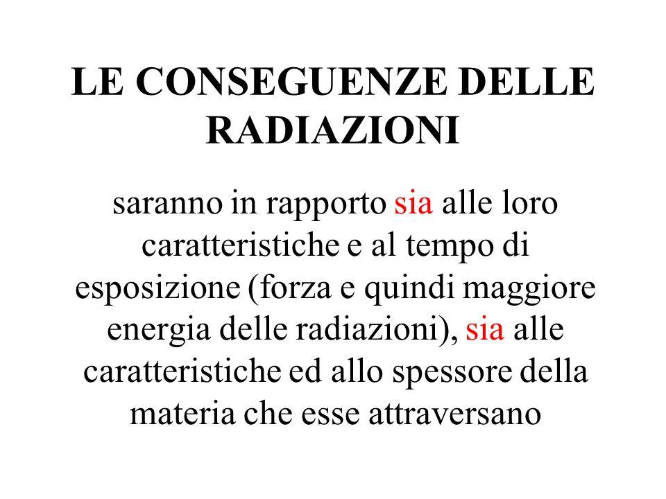 LE CONSEGUENZE DELLE RADIAZIONI saranno in rapporto sia alle loro caratteristiche e al tempo di esposizione (forza e quindi maggiore energia delle rad