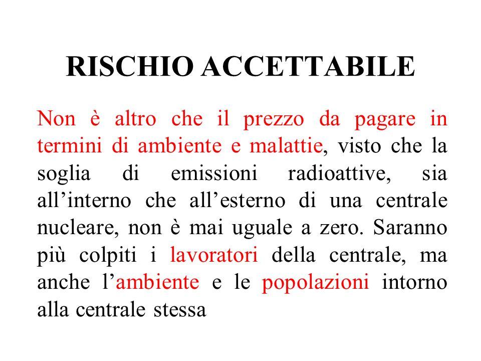 RISCHIO ACCETTABILE Non è altro che il prezzo da pagare in termini di ambiente e malattie, visto che la soglia di emissioni radioattive, sia allintern