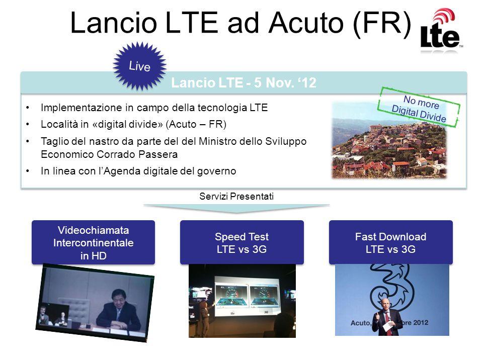 Lancio LTE ad Acuto (FR) Implementazione in campo della tecnologia LTE Località in «digital divide» (Acuto – FR) Taglio del nastro da parte del del Mi