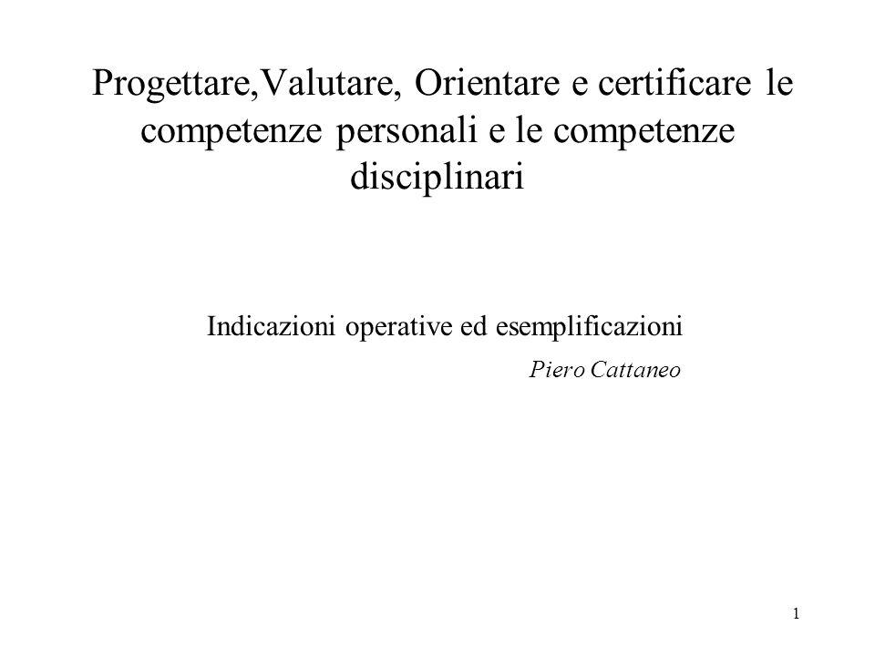 1 Progettare,Valutare, Orientare e certificare le competenze personali e le competenze disciplinari Indicazioni operative ed esemplificazioni Piero Ca
