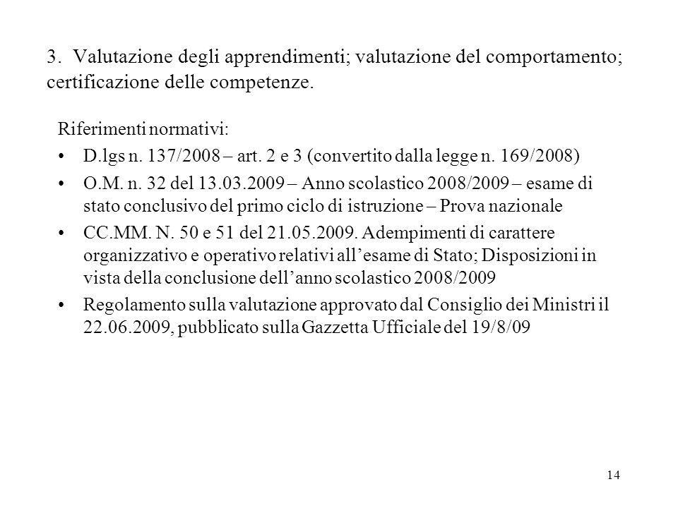 14 3. Valutazione degli apprendimenti; valutazione del comportamento; certificazione delle competenze. Riferimenti normativi: D.lgs n. 137/2008 – art.
