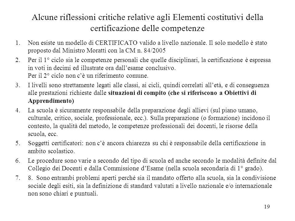 19 Alcune riflessioni critiche relative agli Elementi costitutivi della certificazione delle competenze 1.Non esiste un modello di CERTIFICATO valido