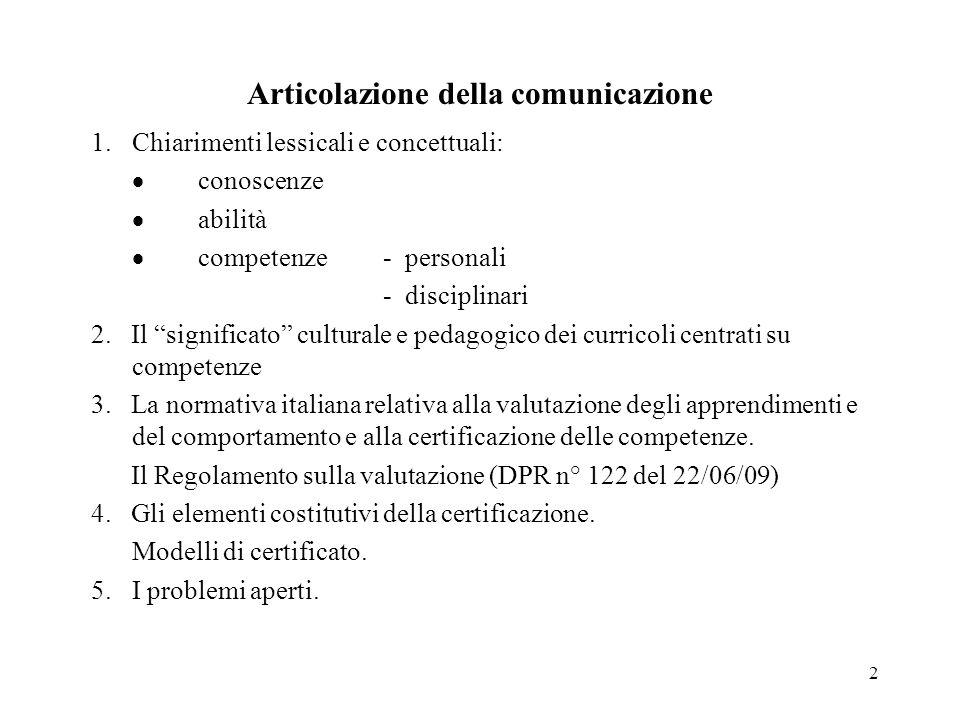 2 Articolazione della comunicazione 1.Chiarimenti lessicali e concettuali: conoscenze abilità competenze - personali - disciplinari 2. Il significato