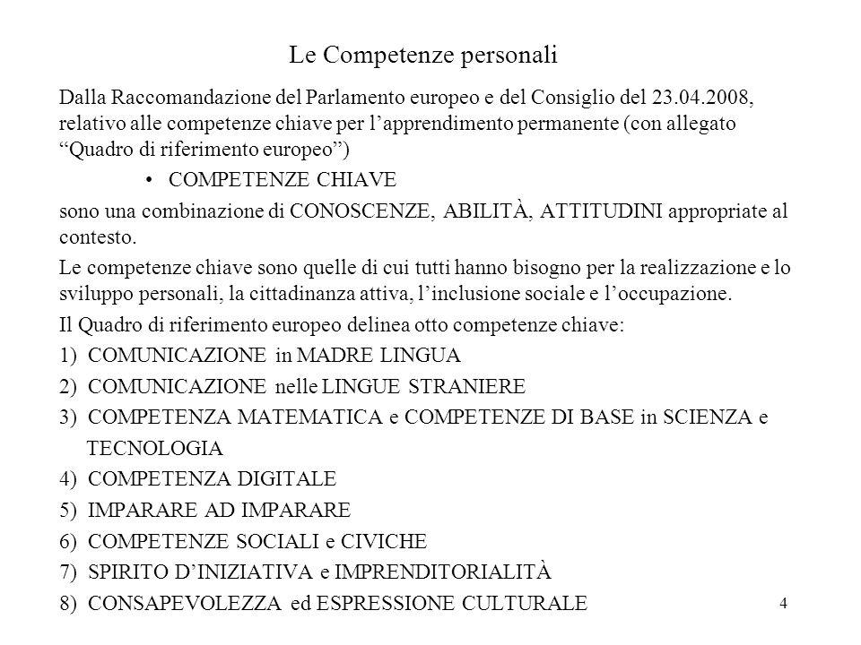 4 Le Competenze personali Dalla Raccomandazione del Parlamento europeo e del Consiglio del 23.04.2008, relativo alle competenze chiave per lapprendime
