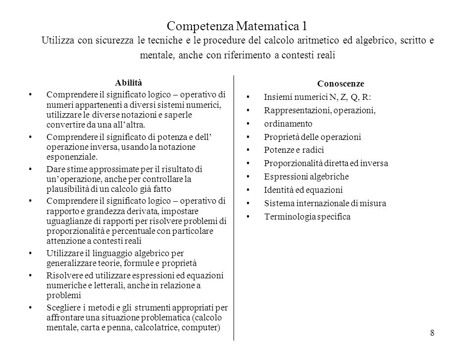 8 Competenza Matematica 1 Utilizza con sicurezza le tecniche e le procedure del calcolo aritmetico ed algebrico, scritto e mentale, anche con riferime
