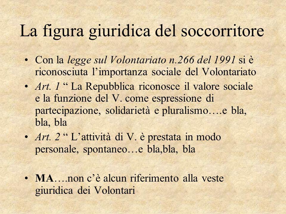 La figura giuridica del soccorritore Con la legge sul Volontariato n.266 del 1991 si è riconosciuta limportanza sociale del Volontariato Art. 1 La Rep