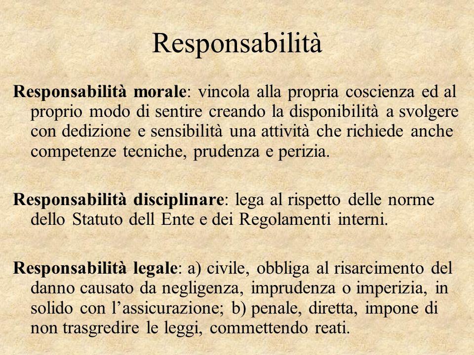 Responsabilità Responsabilità morale: vincola alla propria coscienza ed al proprio modo di sentire creando la disponibilità a svolgere con dedizione e