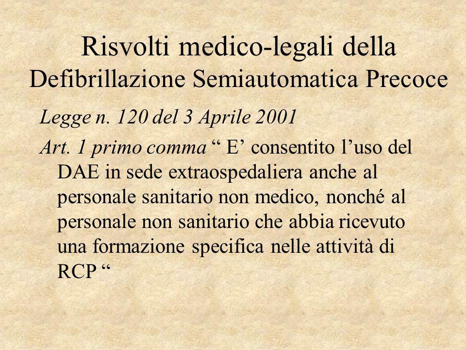 Risvolti medico-legali della Defibrillazione Semiautomatica Precoce Legge n. 120 del 3 Aprile 2001 Art. 1 primo comma E consentito luso del DAE in sed