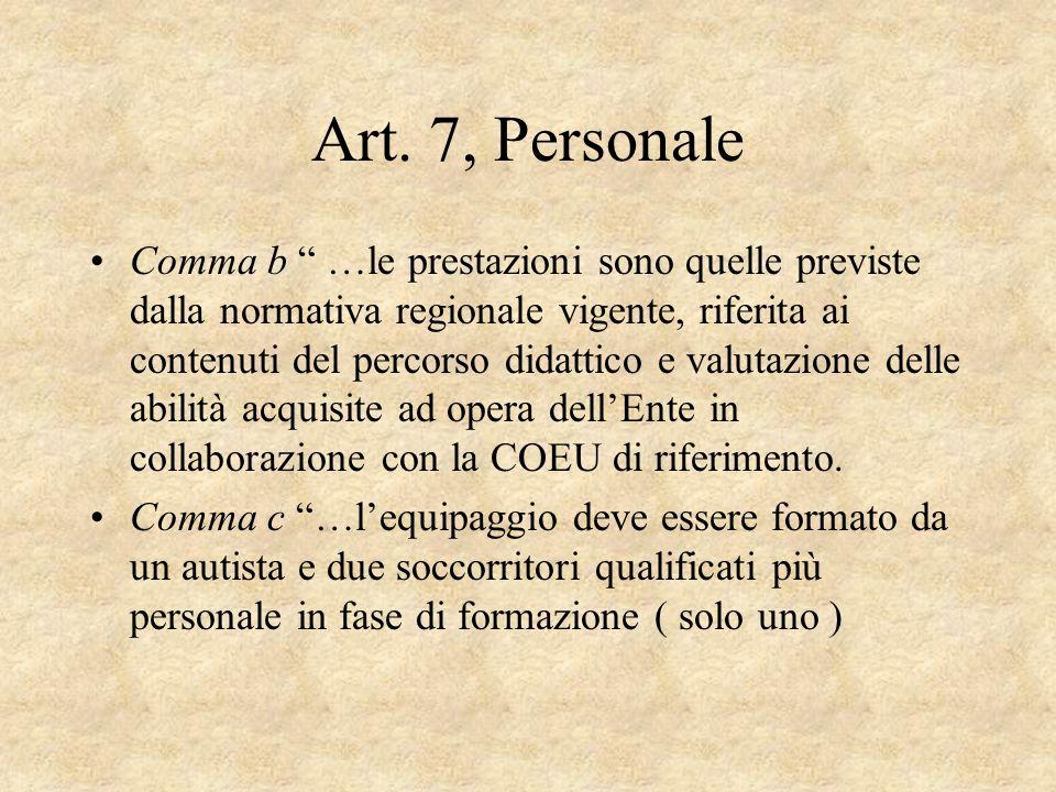 Art. 7, Personale Comma b …le prestazioni sono quelle previste dalla normativa regionale vigente, riferita ai contenuti del percorso didattico e valut