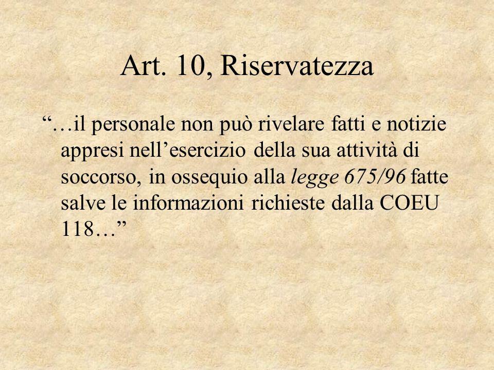 Art. 10, Riservatezza …il personale non può rivelare fatti e notizie appresi nellesercizio della sua attività di soccorso, in ossequio alla legge 675/