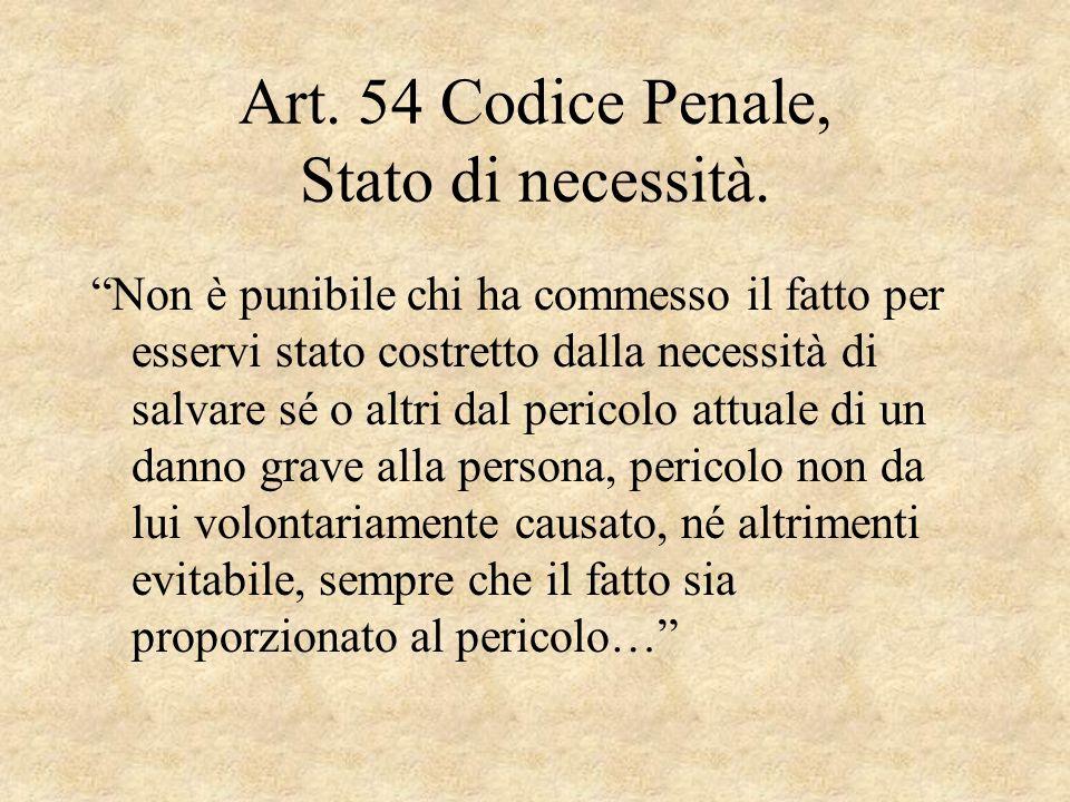 Art. 54 Codice Penale, Stato di necessità. Non è punibile chi ha commesso il fatto per esservi stato costretto dalla necessità di salvare sé o altri d