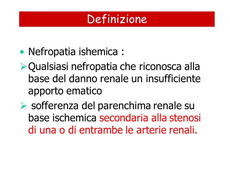 Definizione Nefropatia ishemica : Qualsiasi nefropatia che riconosca alla base del danno renale un insufficiente apporto ematico sofferenza del parenc