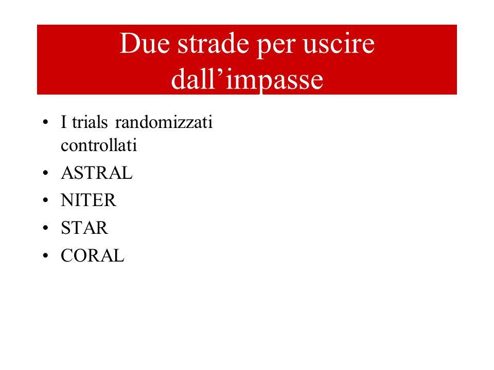 Due strade per uscire dallimpasse I trials randomizzati controllati ASTRAL NITER STAR CORAL Selezionare meglio i pazienti studiando meglio il rapporto