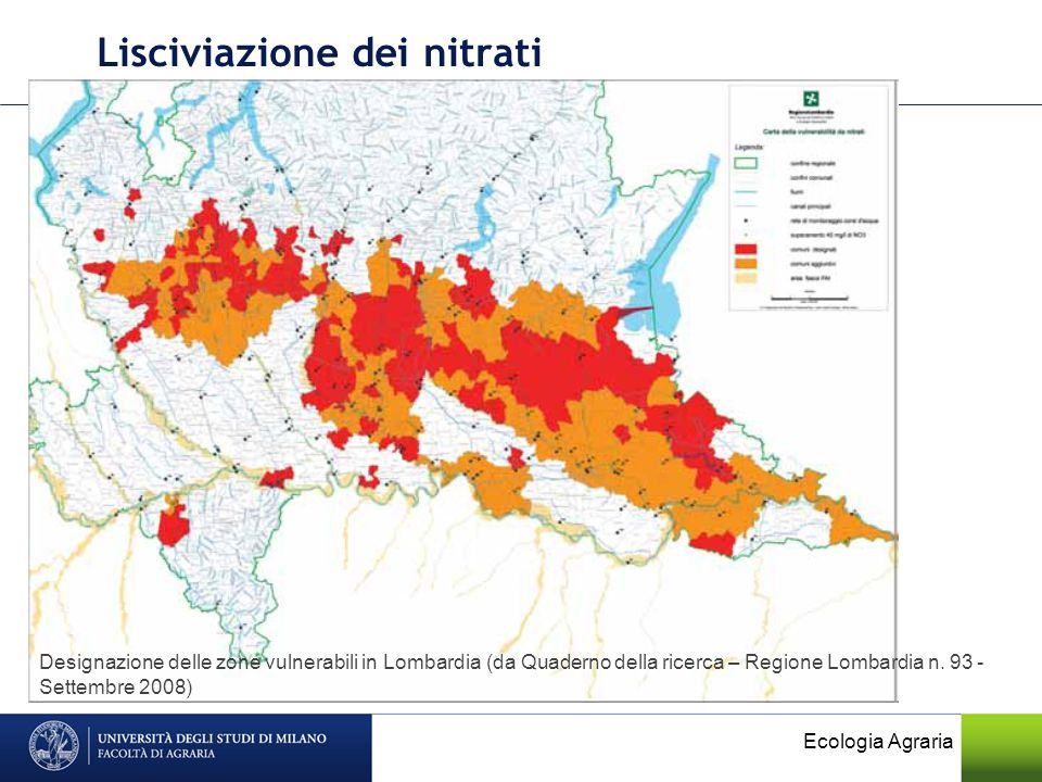 Lisciviazione dei nitrati Ecologia Agraria Designazione delle zone vulnerabili in Lombardia (da Quaderno della ricerca – Regione Lombardia n. 93 - Set
