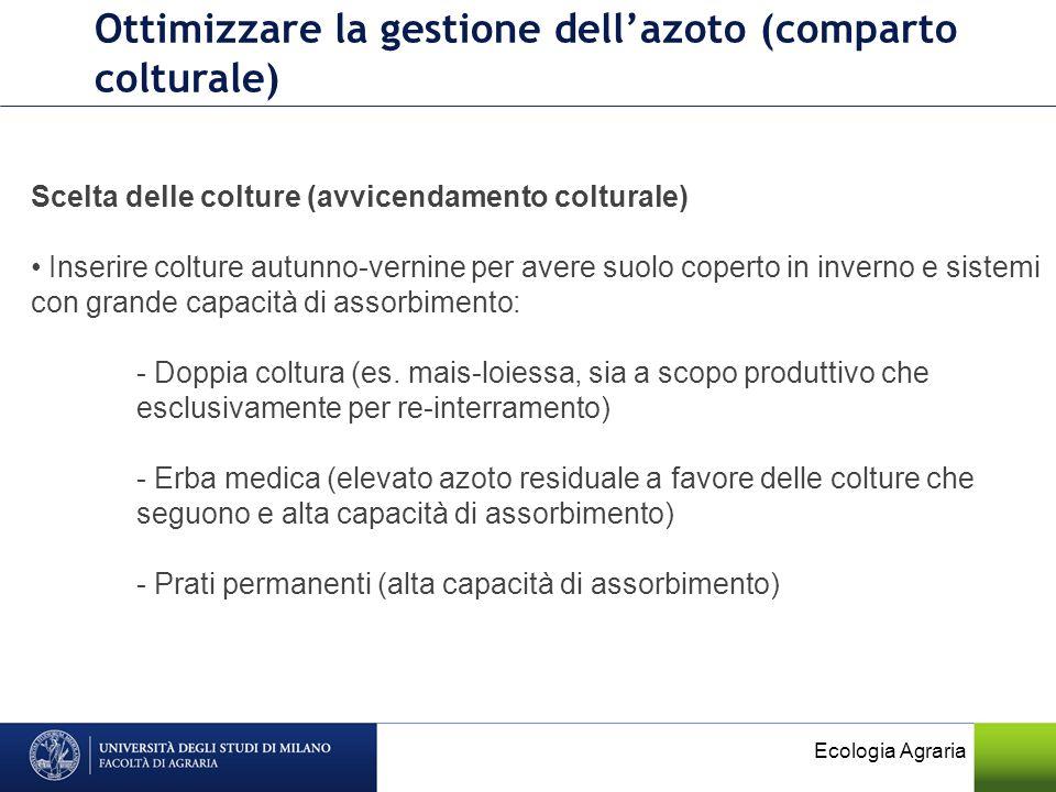Ecologia Agraria Ottimizzare la gestione dellazoto (comparto colturale) Scelta delle colture (avvicendamento colturale) Inserire colture autunno-verni