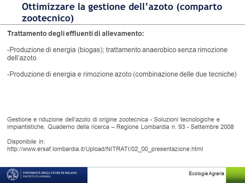 Ecologia Agraria Ottimizzare la gestione dellazoto (comparto zootecnico) Trattamento degli effluenti di allevamento: -Produzione di energia (biogas);