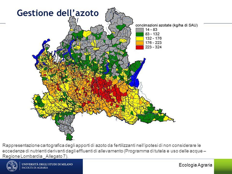 Gestione dellazoto Rappresentazione cartografica degli apporti di azoto da fertilizzanti nellipotesi di non considerare le eccedenze di nutrienti deri