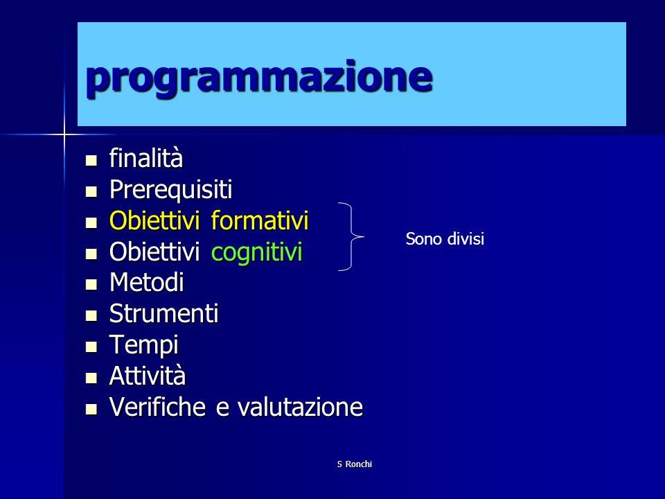 S Ronchi programmazione finalità finalità Prerequisiti Prerequisiti Obiettivi formativi Obiettivi formativi Obiettivi cognitivi Obiettivi cognitivi Me